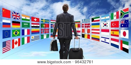 International business man travel with trolley global business concept