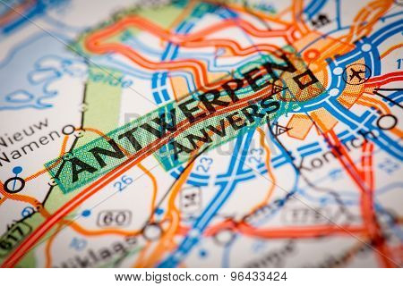 Antwerpen City On A Road Map
