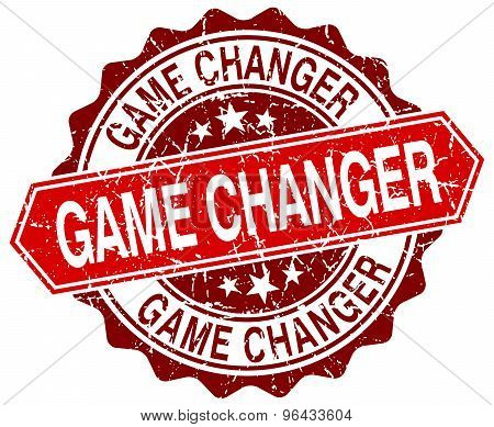 Game Changer Red Round Grunge Stamp On White