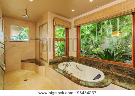 Beautiful Bathroom in Luxury Home with Tub and Shower