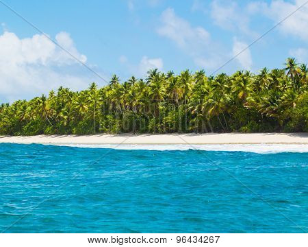 Tropical Island Atoll, Nature Untouched Paradise