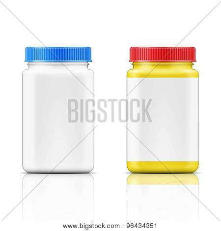 Colored square plastic bottle for pills.