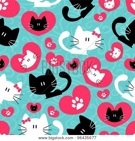 Romantic Seamless Pattern With Cute Couple Of Cats
