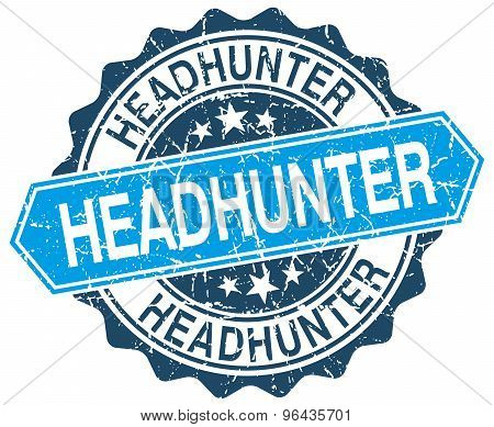 Headhunter Blue Round Grunge Stamp On White