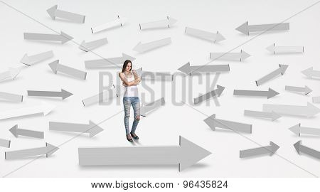 Girl looking at arrows