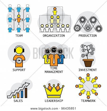 Line Vector Design Of Office Structure, Leadership, Team & Teamwork