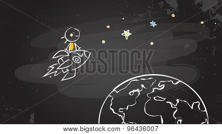 Back to school kid riding a rocket, chalk on blackboard. Sketchy doodle style scribble, education vector illustration.