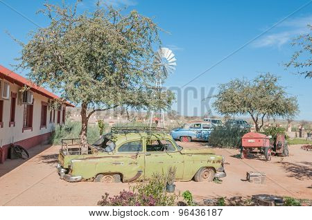 Old Cars Used In As Display In A Garden