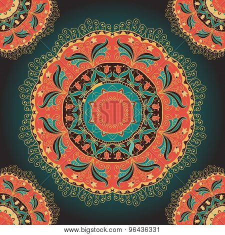 Seamless pattern or card with mandala