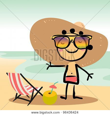 Cute Little girl tanning on beach, at the sea, ocean. Summer vacation vector illustration.