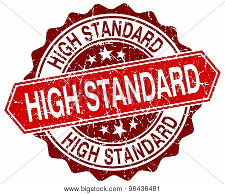 High Standard Red Round Grunge Stamp On White