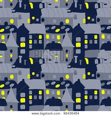 Cartoon pattern with tiny vector houses and trees at night. Hand drawn seamless ornament can be used