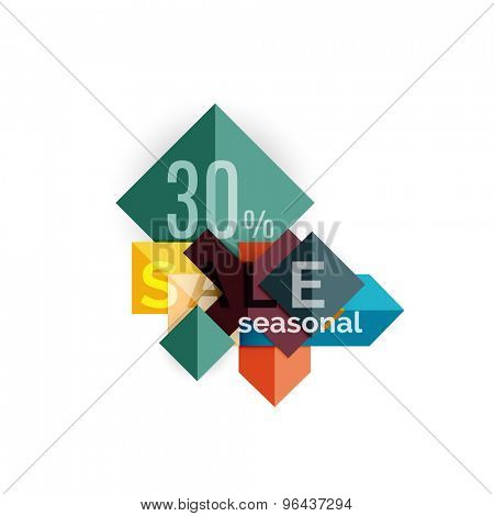 Sale geometric shapes banner with text. Web button or message for online web site, presentation or application