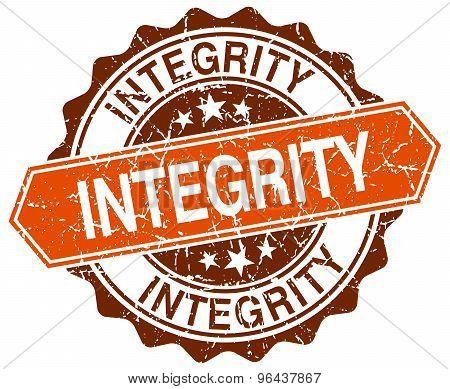 Integrity Orange Round Grunge Stamp On White