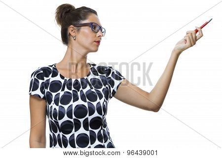 Serious Woman In A Dress Holding Ballpoint Pen