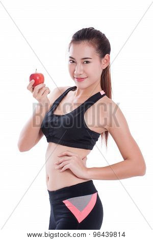 Fitness woman holding apple on white background. healty concept