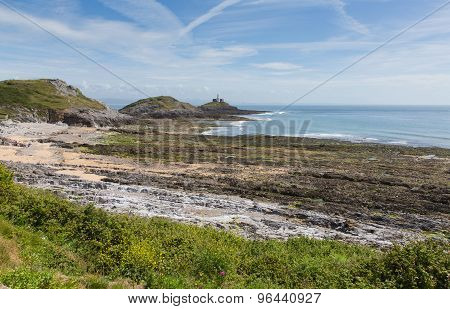 Bracelet Bay the Gower Peninsula South Wales with Mumbles lighthouse, located near to Swansea city