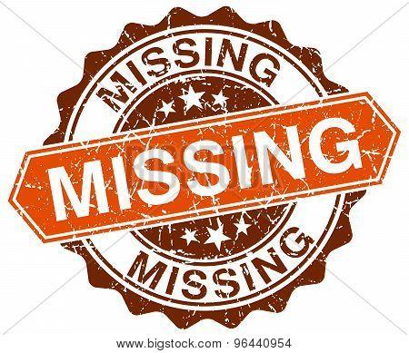 Missing Orange Round Grunge Stamp On White