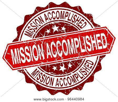 Mission Accomplished Red Round Grunge Stamp On White