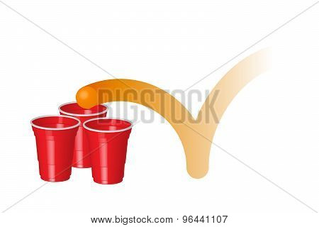 Red Party Cup With Ping Pong Ball, Party With Alcohol, College Party