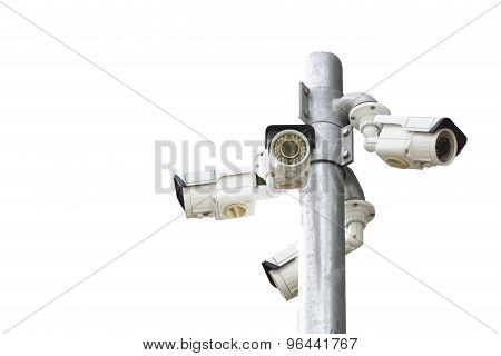 Isolated Of Multiple Angle Outdoor Cctv Camera On The Pole