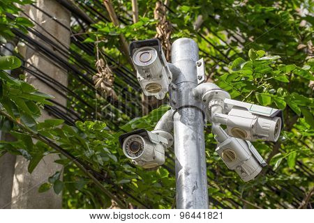 Multiple Angle Outdoor Cctv Camera On The Pole