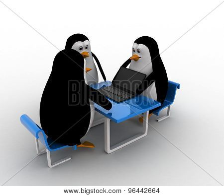 3D Three Penguins Working On Laptop Together Concept