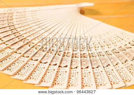 Oriental Carved Wooden Hand Fan