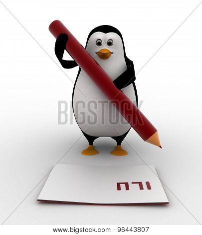 3D Penguin Holding A Pencil And Writing On Paper Concept
