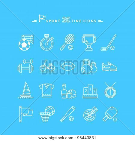 Set of White Icons Sport Equipment