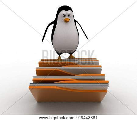 3D Penguin Standing On Falling File Folder Concept