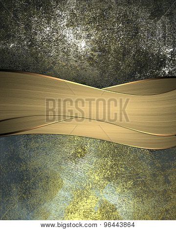 Grunge Background Of Old And Scratched Metal Plates, With Golden Ribbon