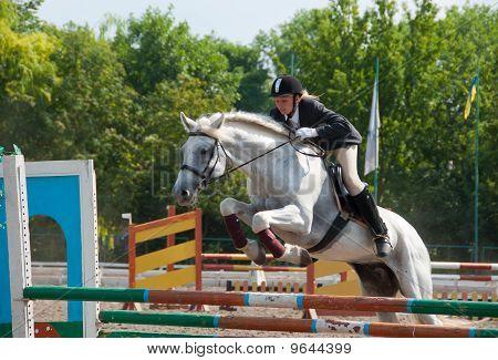 Jockey salta sobre un obstáculo
