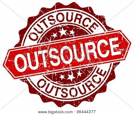 Outsource Red Round Grunge Stamp On White