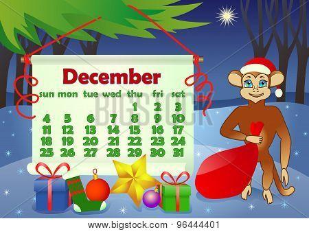 Calendar 2016 year with Monkey. December
