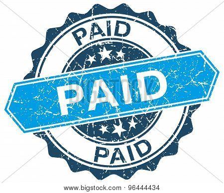 Paid Blue Round Grunge Stamp On White