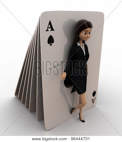 3D Woman Leaning On  Play Cards Concept