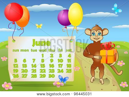 Calendar 2016 year with Monkey. June