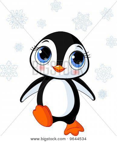 Lindo pingüino de invierno