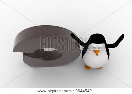 3D Penguin With Round Shaped Arrow Concept
