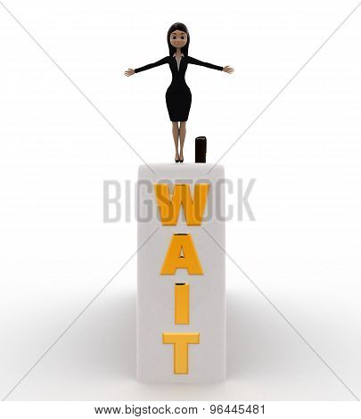 3D Woman Jumping From Wait Wall Concept