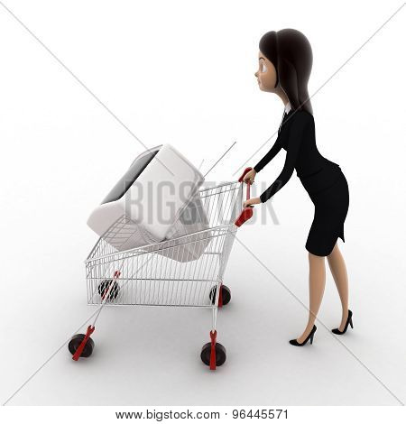 3D Woman Draw Cart With Television Screen Concept