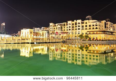 Dubai, Uae - September 9: Night View Down Town Of Dubai City, On September 9, 2013, Dubai, Uae. In T