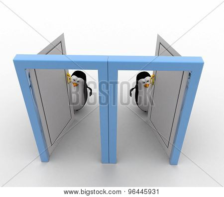3D Two Penguin Open Two Doors To Welcome In Concept