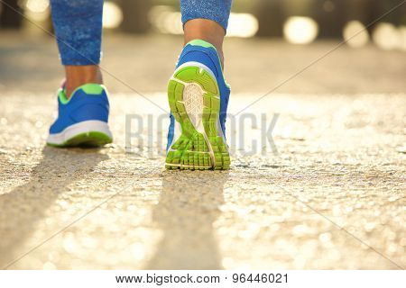 Low Angle Close Up Female Running Shoes