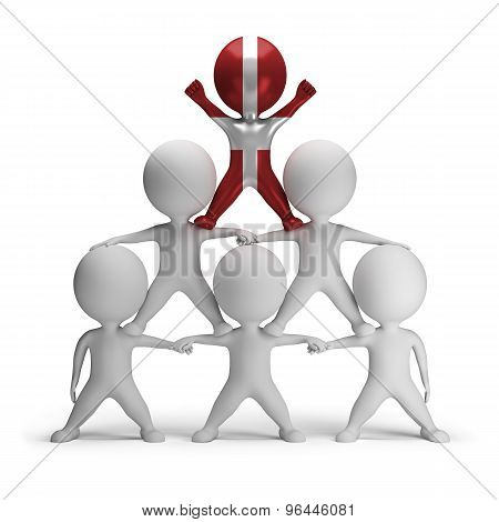3d small people standing on each other in the form of a pyramid with the top leader Order of Malta