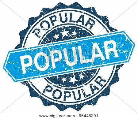 Popular Blue Round Grunge Stamp On White