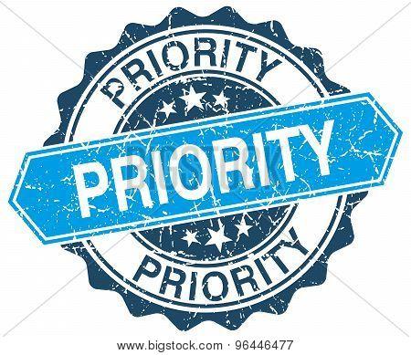 Priority Blue Round Grunge Stamp On White