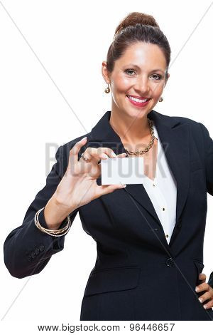 Businesswoman Holding Small Card With Copy Space
