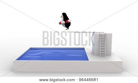 3D Penguin Jumping To Swimming Pool Wearing  A Safety Tube